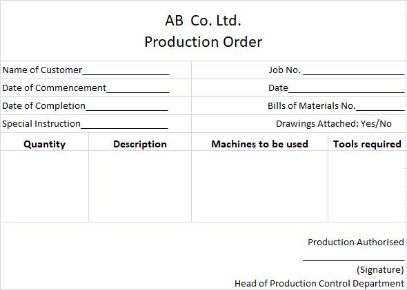 Job Costing - Specimen of Production Order