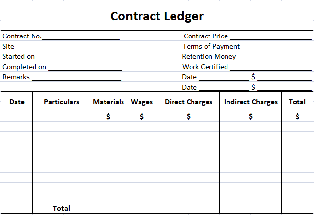 Contract Costing - Contract ledger Format Specimen