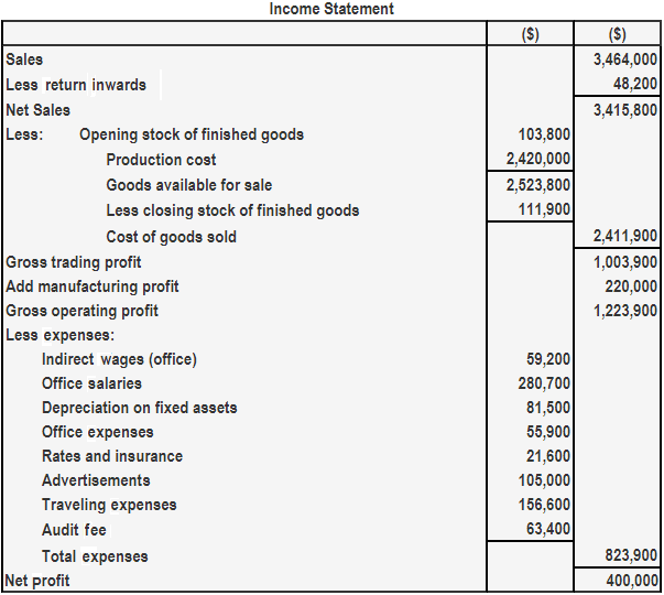 Income Statatment Example