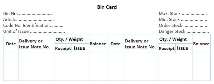 Bin Card Specimen