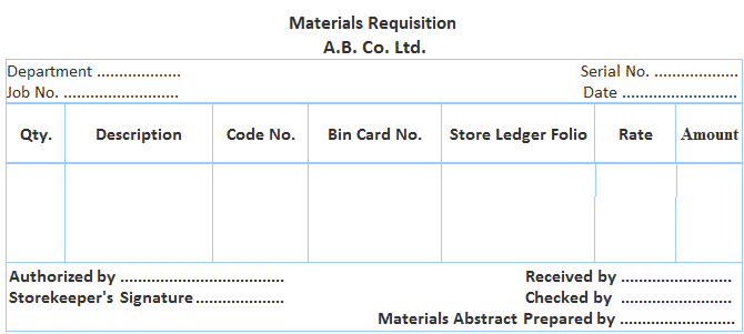 Format of Materials Requisition Form
