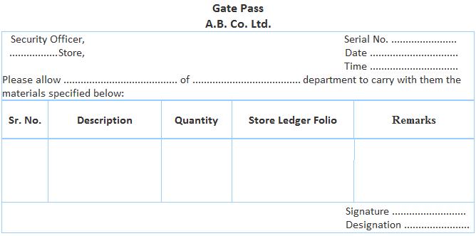 Gate Pass Format