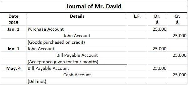 Mr. David Journal Entries