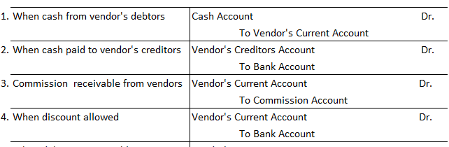 Journal Entries For Vendor's Current Account