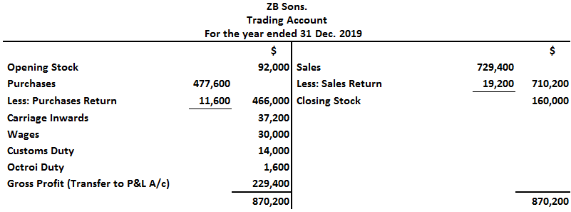 ZB Sons Trial Balance Solution