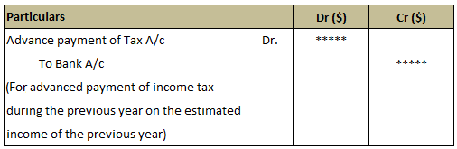 Journal Entry For Advance Payment of Income Tax